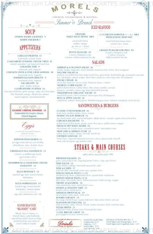Menus Prices 4 Pages Morels French Steakhouse