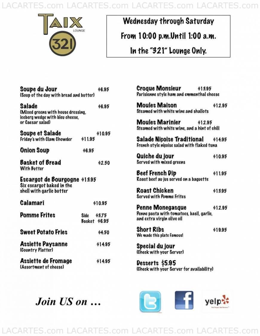 18 of 20 price lists & menus – taix french restaurant los angeles