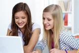 Cute girls working with laptop in college bespoke languages tuition (blt) Flat 3, 18 Cavendish Road