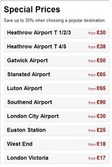Pricelists of London Taxi | Airport Transfer with Last Minute Carz