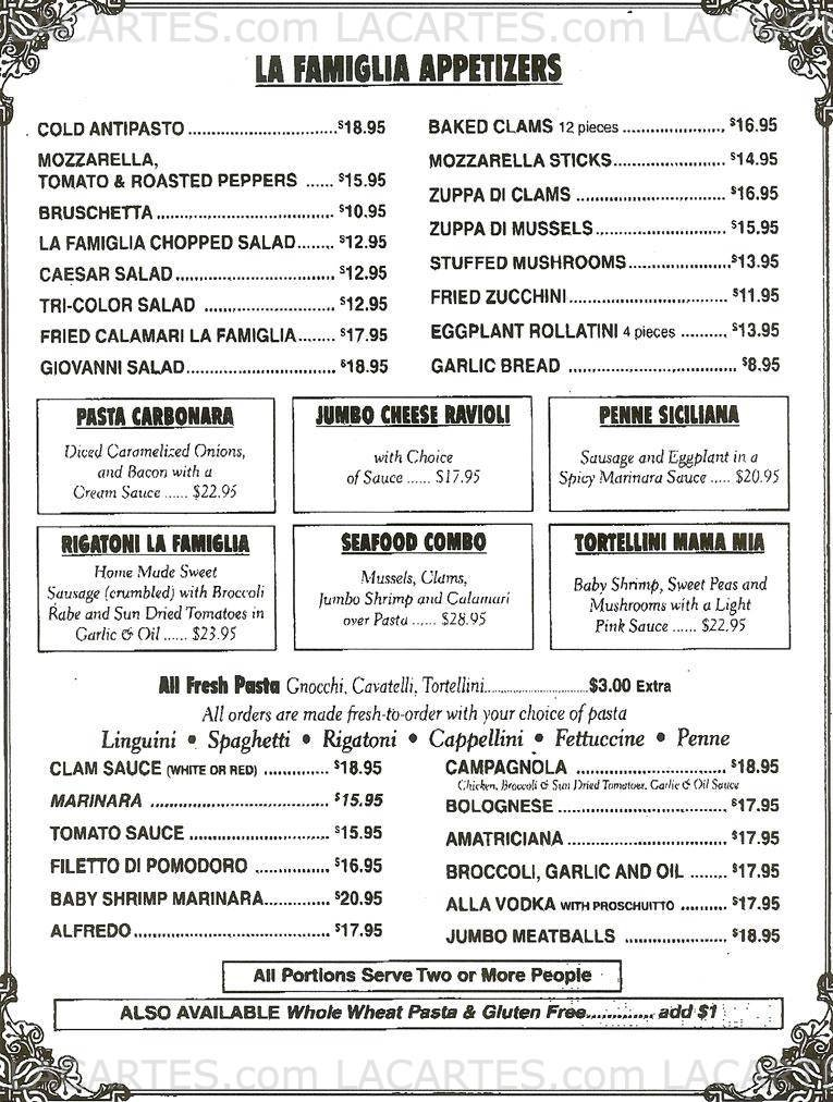 Pricelists of La Famiglia Family Style Restaurant - Babylon Village, NY 90 West Main Street - Photo 1 of 3
