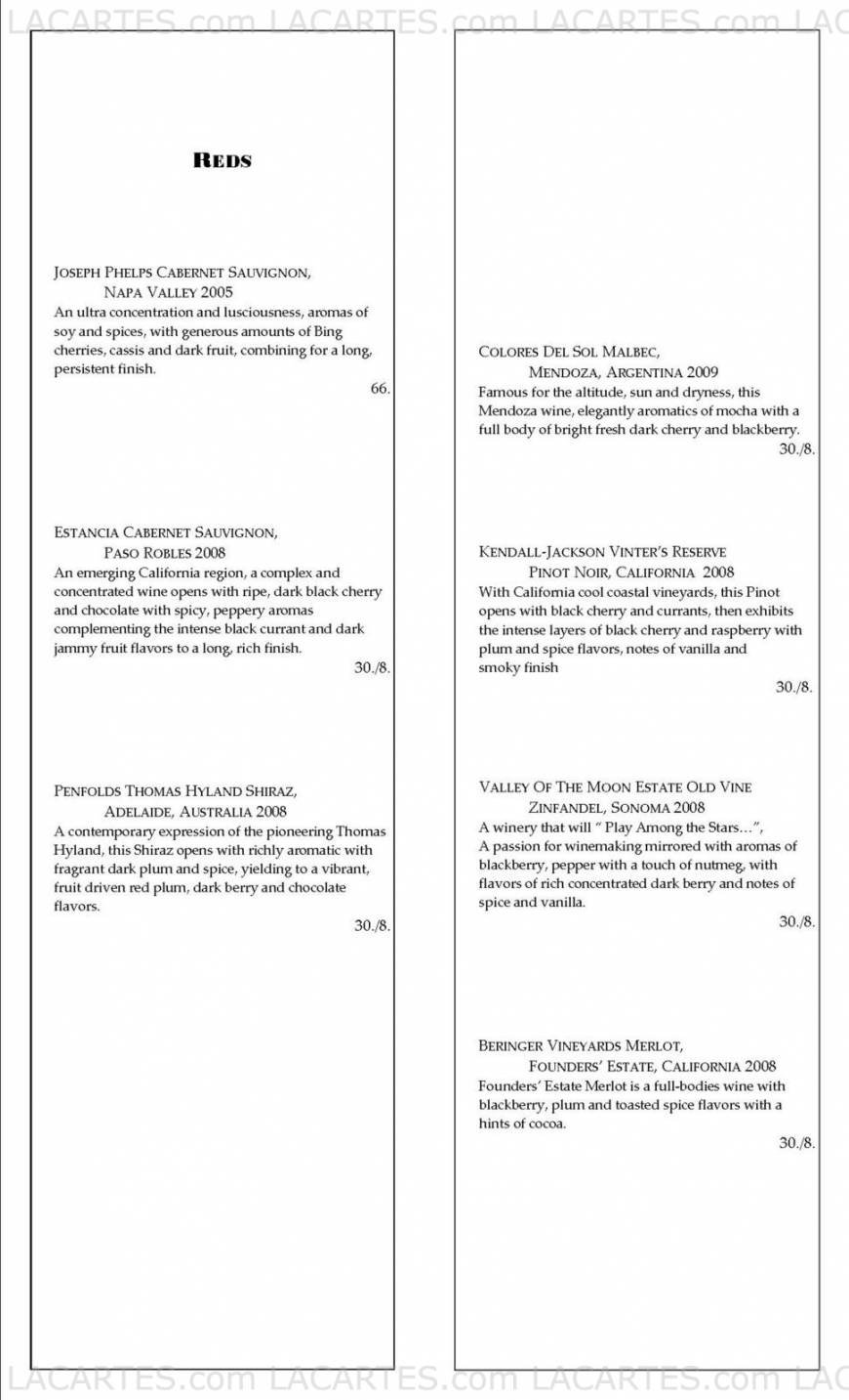 Osha Thai Restaurant-Valencia St. San Francisco Price Lists Page 13 of 18