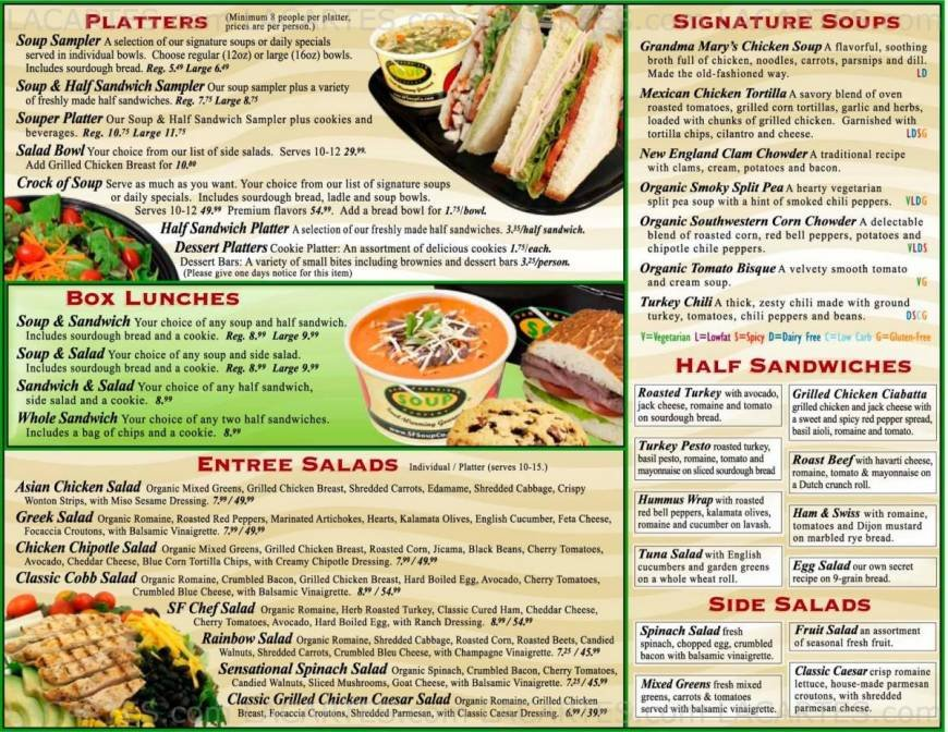 San Francisco Soup Company-@ Sacramento San Francisco Price Lists Page 7 of 7