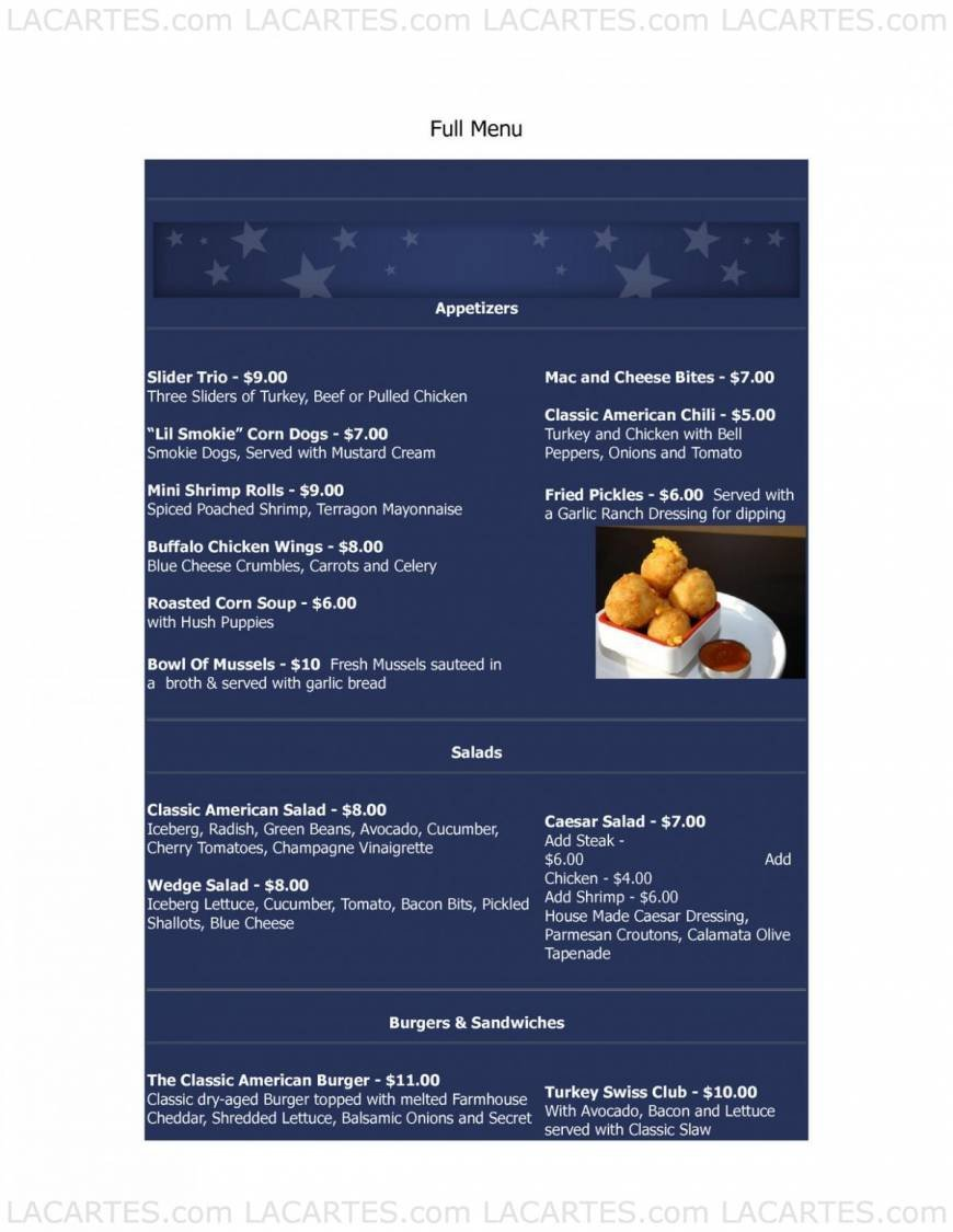 Pricelists of Classic American Restaurant - NY 691 Route 109 - Photo 1 of 5