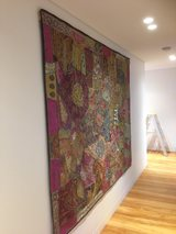 Rajasthani rug hanging by Alessandro at All Art & Mirrors Installation Services Sydney, art hanging sydney, art hanging systems, art hanging systems sydney, art installation sydney, artwork transport sydney, mirror hanging sydney, mirror installation sydn
