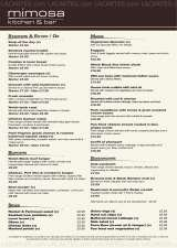 Pricelists of Mimosa Kitchen and Bar