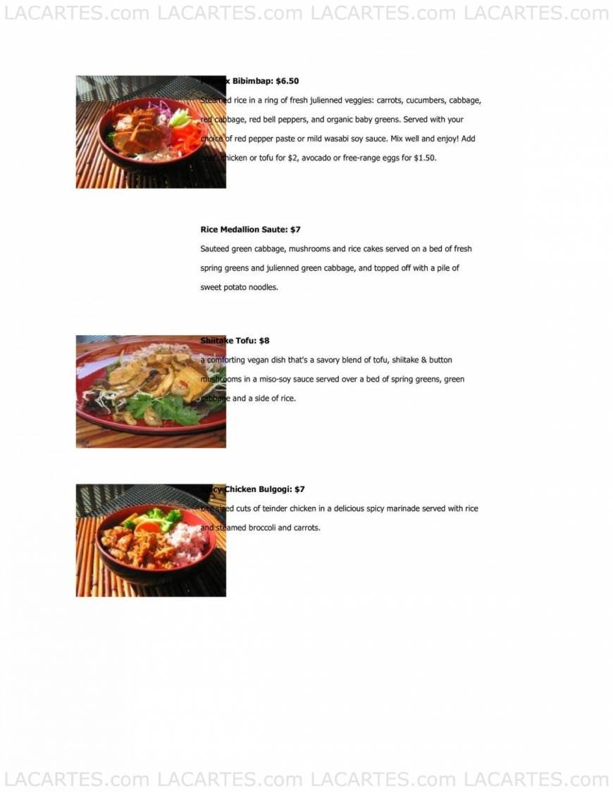 Koriente Restaurant & Tea House Austin Price Lists Page 8 of 9 