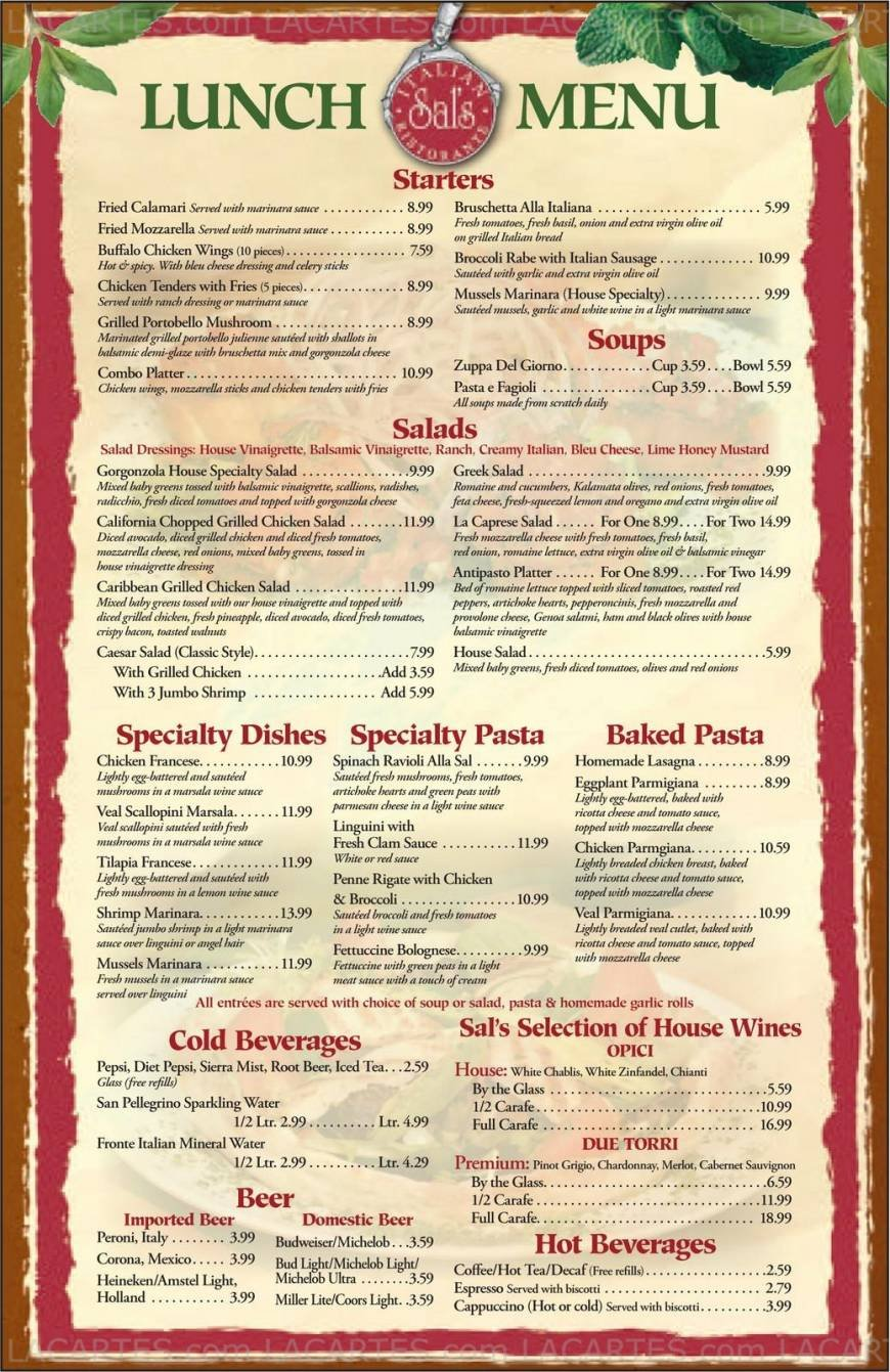 Pricelists of Sal's Italian Ristorante - Seaplum Town Center, Jupiter, FL 2525 Military Trail, # 111 - Photo 1 of 2
