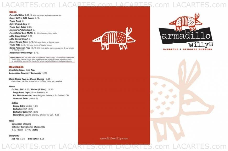 Armadillo Willy's-San Jose San Jose Price Lists Page 1 of 2