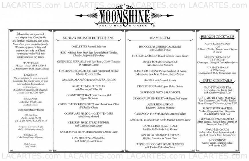 Pricelists Of Moonshine Restaurant Patio Bar U0026 Grill 303 Red River St    Photo 8 Of