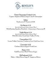 Pricelists of Bentley's Oyster Bar & Grill