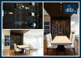 Contemporary Wine Wall in Dining Room with Cable and Glass Wine Racking Blue Grouse Wine Cellars 1621 Welch Street