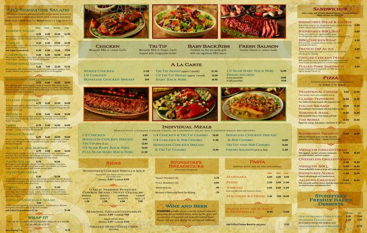 4 Of 4 Price Lists Menus Stonefire Grill Pasadena