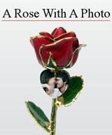 Real Rose Preserved and Trimmed in 24k Gold with an Engraved Photo Heart Charm
