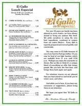 Pricelists of El Gallo Mexican Restaurant