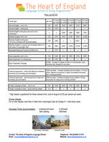 Pricelists of The Heart of England Language School and Study Programmes