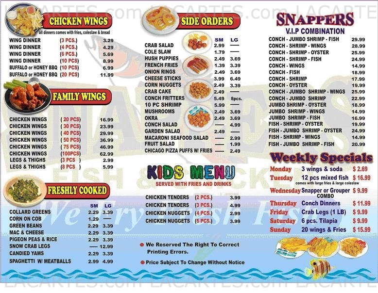 1 of 3 price lists menus snappers fish and chicken for Snappers fish chicken