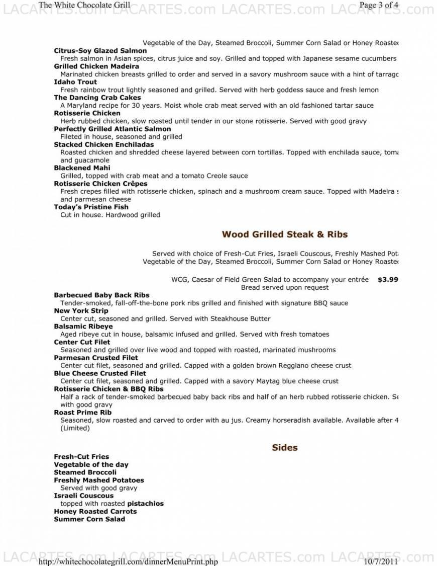 9 of 10 Price Lists & Menus – The White Chocolate Grill Naperville ...