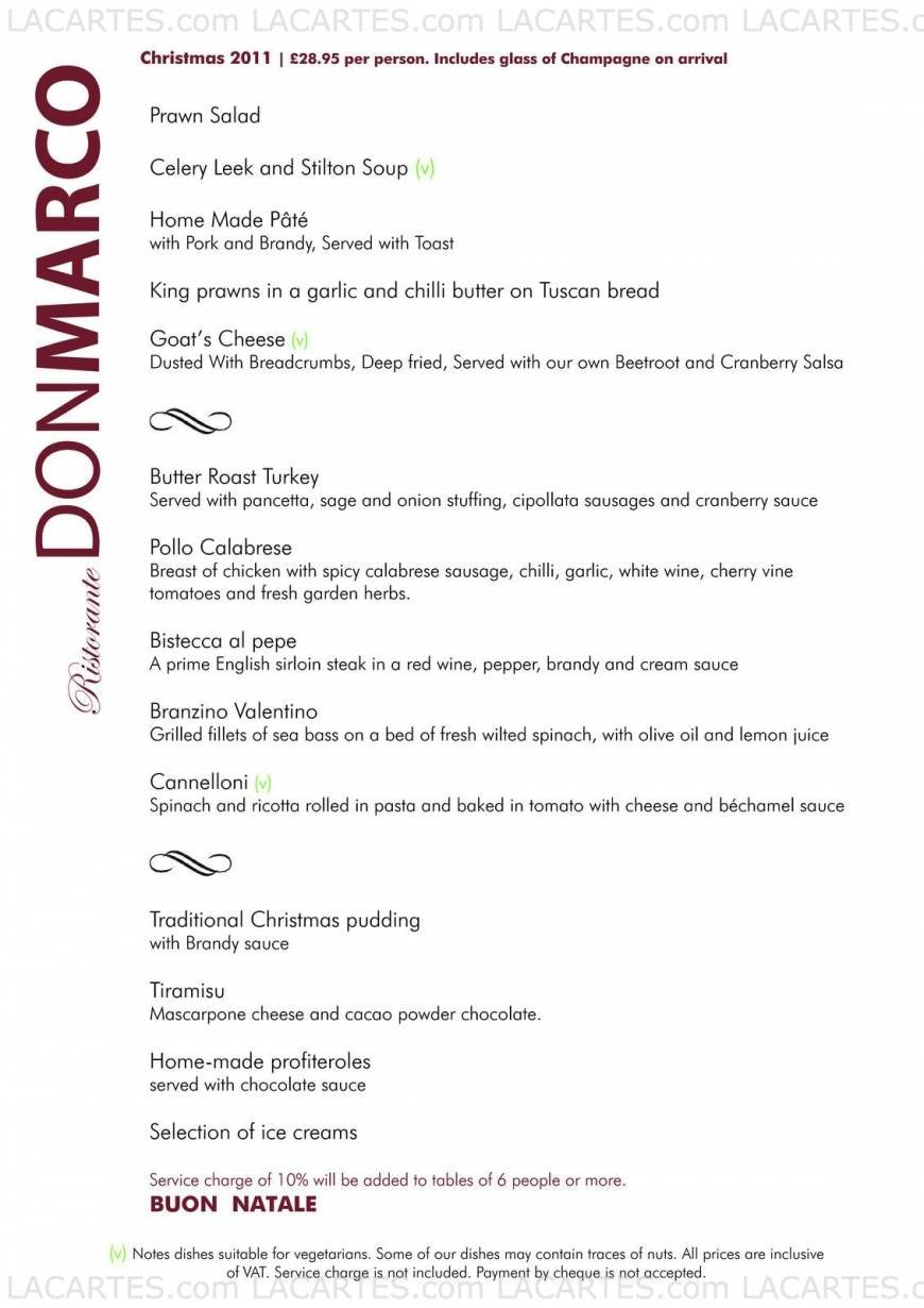 1 of 1 Price Lists & Menus – Don Marco Restaurant Manchester Dinner