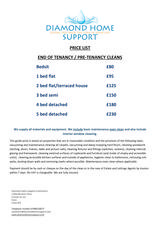 Pricelists of Diamond Home Support Colchester