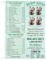 Pricelists of Sushi Sogo Japanese Restaurant - FL