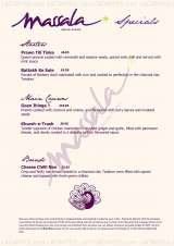 Pricelists of Massala Indian Dining