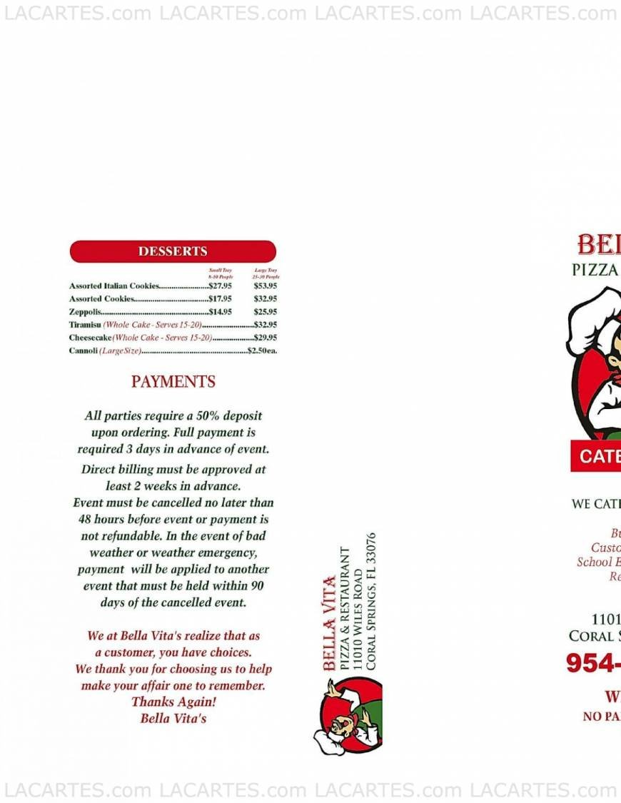 Bella Vita Pizza & Restaurant - FL Coral Gables Price Lists Page 1 of 3