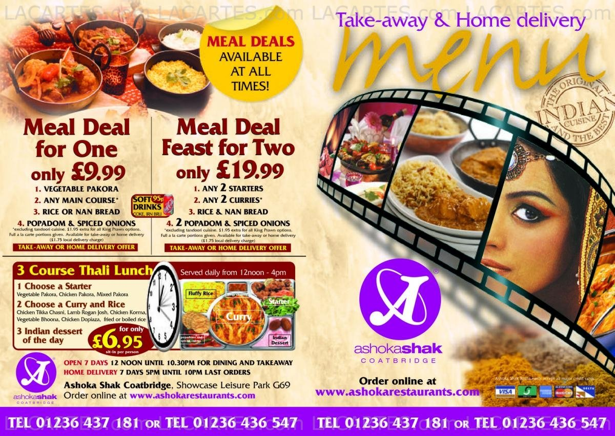 3 of 4 price lists menus ashoka shak coatbridge baillieston indian cuisine for Ashoka indian cuisine menu