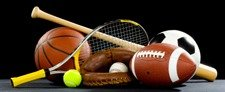 A variety of sports equipment on a black background including an american football, a soccer ball, a baseball, a baseball bat, a tennis raquet, a tennis ball, and a basketball New Album of Haveayardsale Aqua Net Solutions LLC, PO Box 1098 - Photo 2 of 4