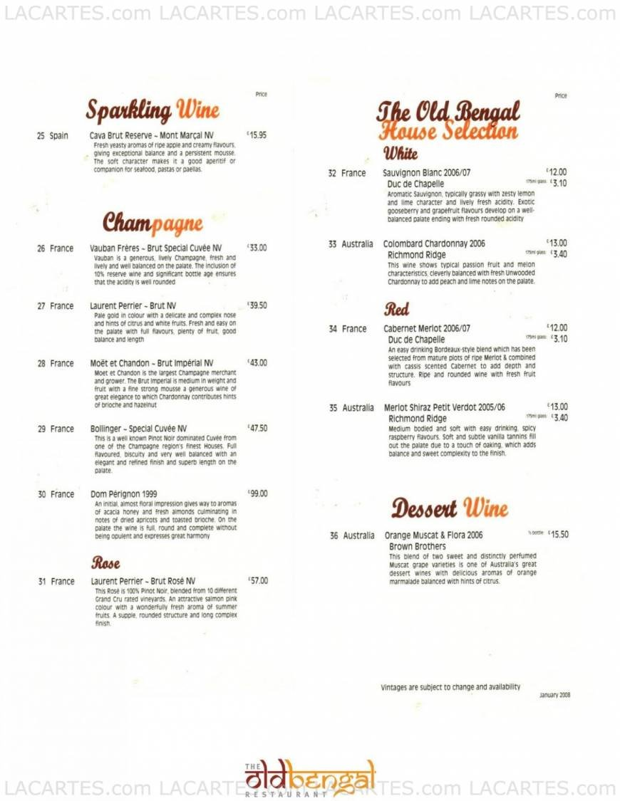 16 of 16 price lists menus the old bengal restaurant for Arman bengal cuisine dinas menu