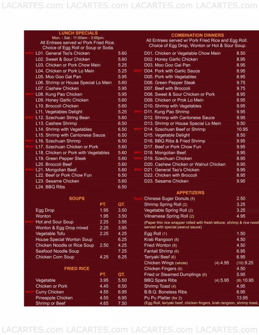 Pricelists Of Feng Lin Chinese Restaurant Fl 1561 S Congress Ave Photo