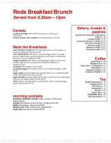 Pricelists of Reds Bar and Grill