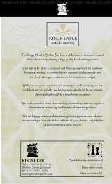 Pricelists of Kings Head and Stable Bar