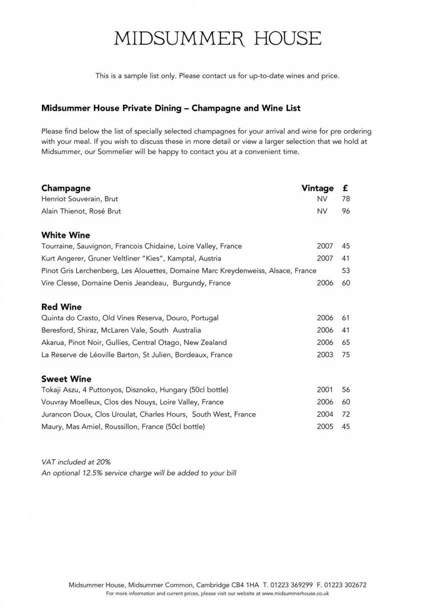 45 Of 45 Price Lists Menus Midsummer House Restaurant