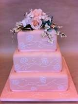 Peach cake with sugar flowers and brush embroidery from £395 Sharon Lord Cakes Fiddlers Field Croydon Road