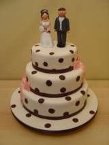 Dotty wedding with claydough bride and groom from £360 Sharon Lord Cakes Fiddlers Field Croydon Road