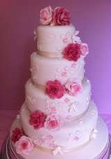 4 tier pink rose cascade from£450 Sharon Lord Cakes Fiddlers Field Croydon Road