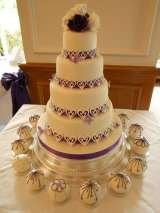 Hearts over purple ribbon from £395 Sharon Lord Cakes Fiddlers Field Croydon Road