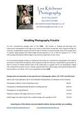 Pricelists of Lee Kitchener Photography