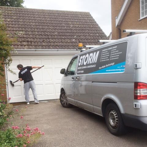 Garage door cleaning using pure water fed poles & flocked cleaning brushes. Expert Window Cleaners for Leicester & Leicestershire New Album of Storm Window Cleaning Leicester 58 Copson Street, Ibstock, Coalville - Photo 2 of 19