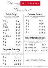 Pricelists of Discovery Photography