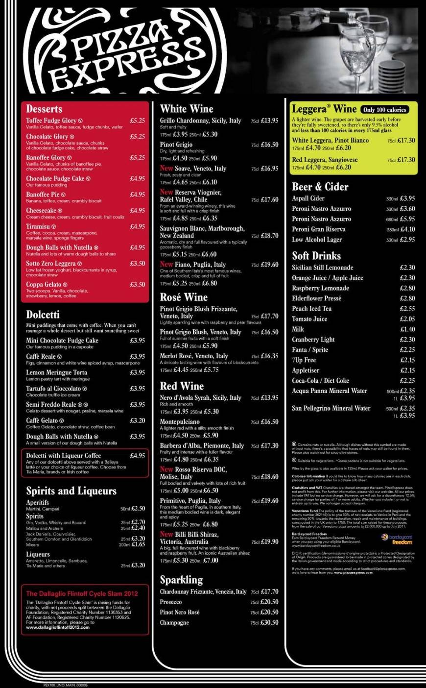2 Of 4 Price Lists Menus Pizza Express Eastbourne Pizza