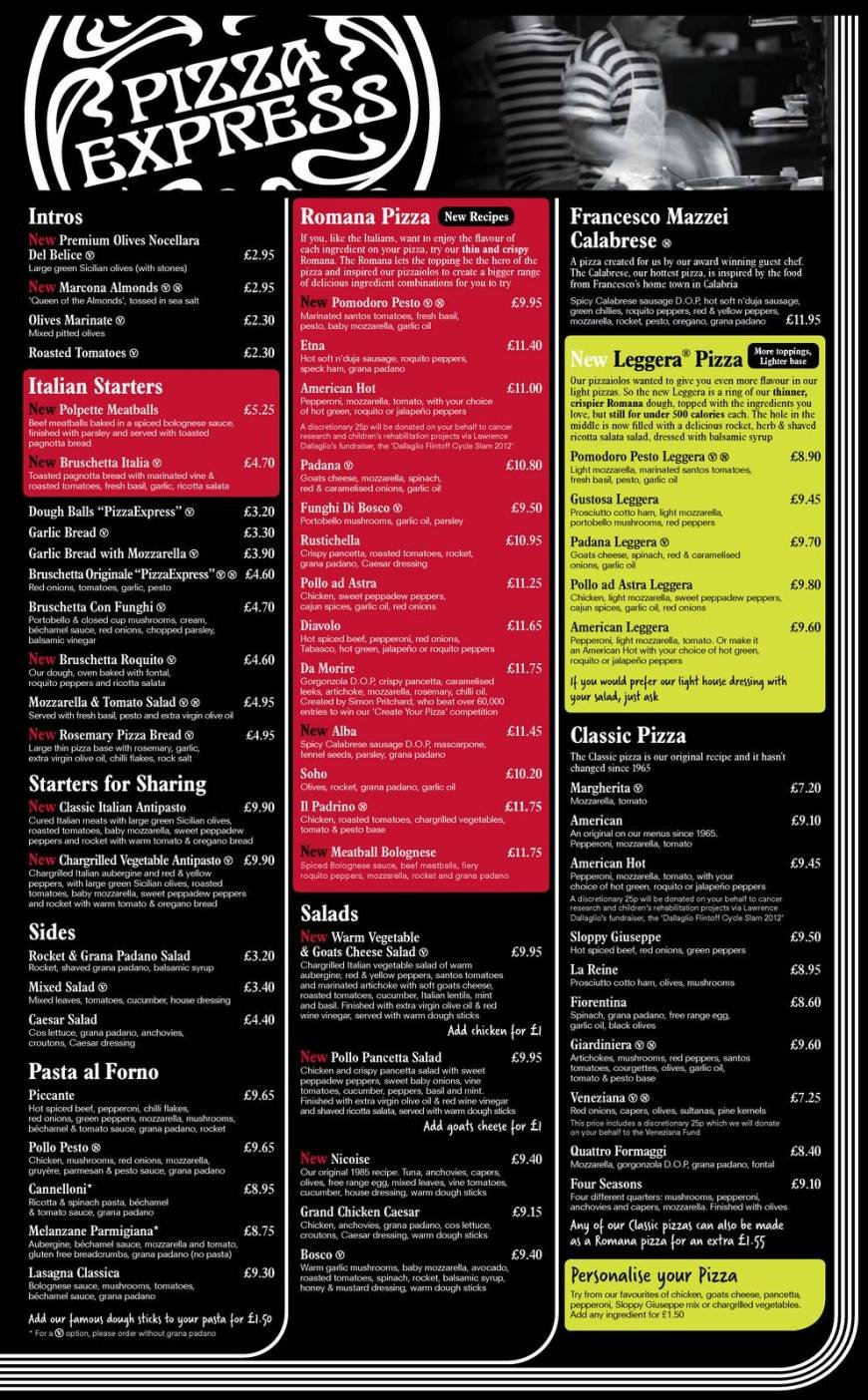 1 Of 4 Price Lists Menus Pizza Express Kingston Upon