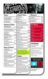 Menus Prices 4 Pages Pizza Express Blackpool Pizza
