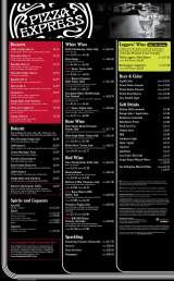 Menus Prices 4 Pages Pizza Express Braintree Pizza