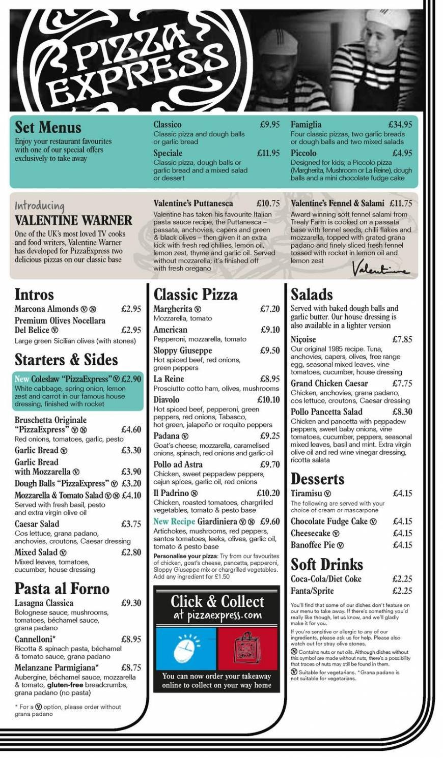 3 Of 4 Price Lists Menus Pizza Express Luton Pizza
