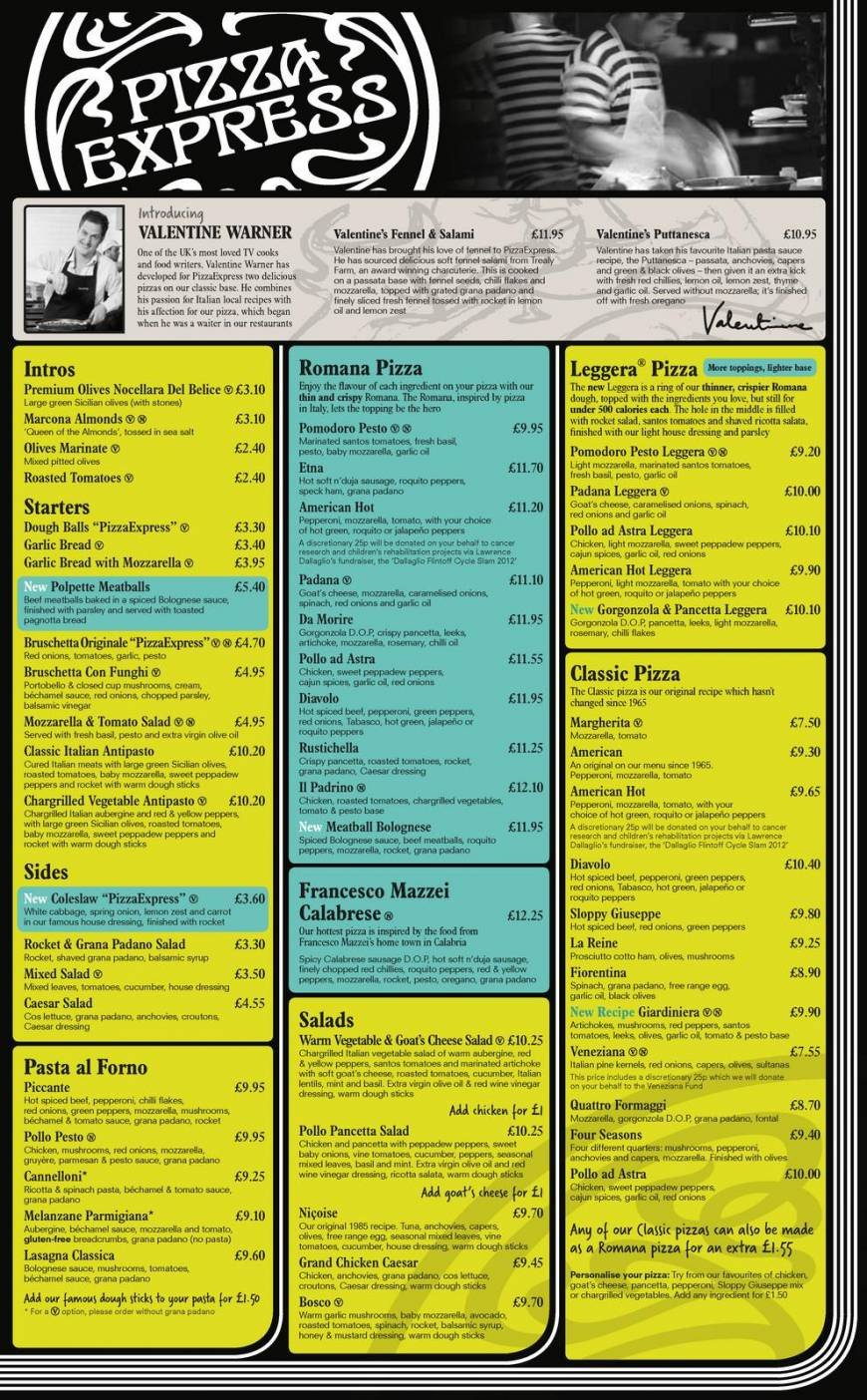 1 Of 4 Price Lists Menus Pizza Express Livingston Pizza