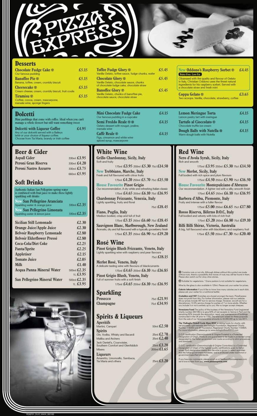 2 Of 4 Price Lists Menus Pizza Express Inverness Pizza