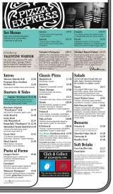 Pricelists of PizzaExpress