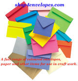 A full range of coloured envelopes, paper and other items for use in craft work. Browse Online wedding, coloured, square envelopes, items and prices at Shop4Envelopes online envelope store.